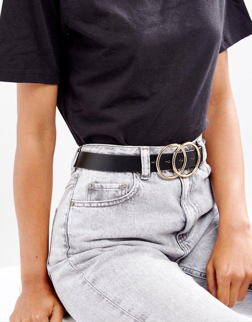 30bd070db3f ASOS Double Circle Waist   Hip Belt - Black