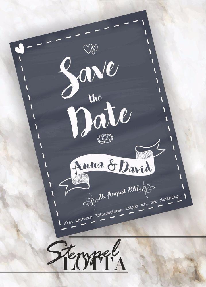 Save The Date INDIVIDUELL Hochzeit Einladung Ankündigung Tafel NEU Vintage  Grau