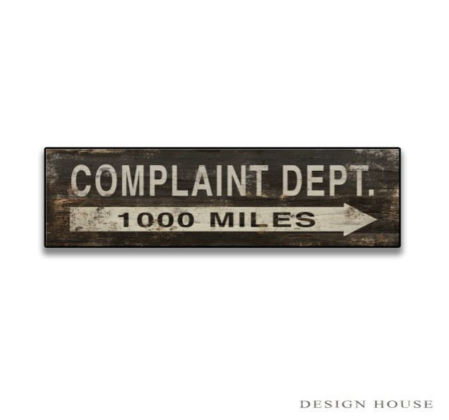 Office Complaint Department Gag Gift Sign w// Hilarious Design