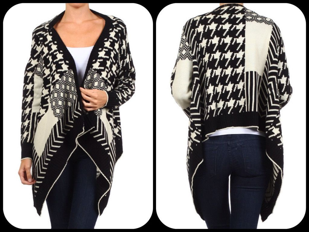 Houndstooth Multi-pattern Cardigan! Love houndstooth! This cardigan is soft & warm & right on trend! Get it @ reallyroxie.com!