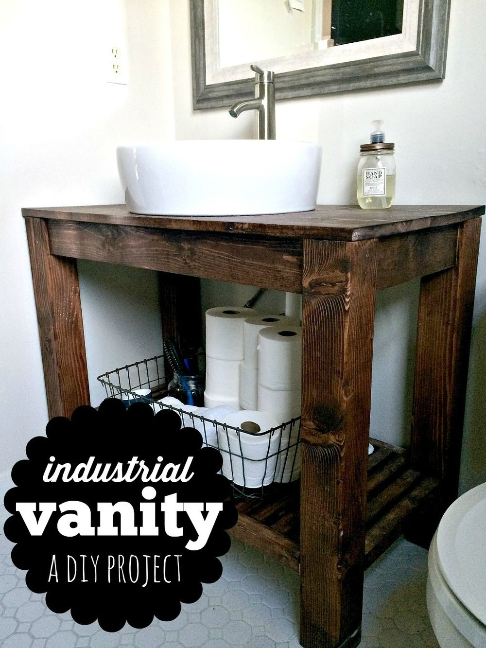 Diy Industrial Farmhouse Bathroom Vanity Farmhouse Bathroom