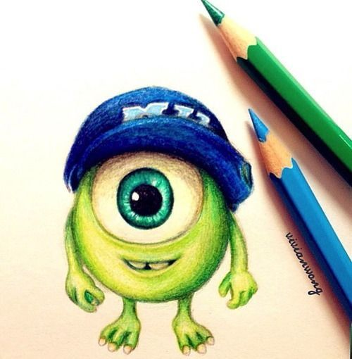 Baby Mike Monsters Inc Drawing In Coloured Pencils Cute Disney