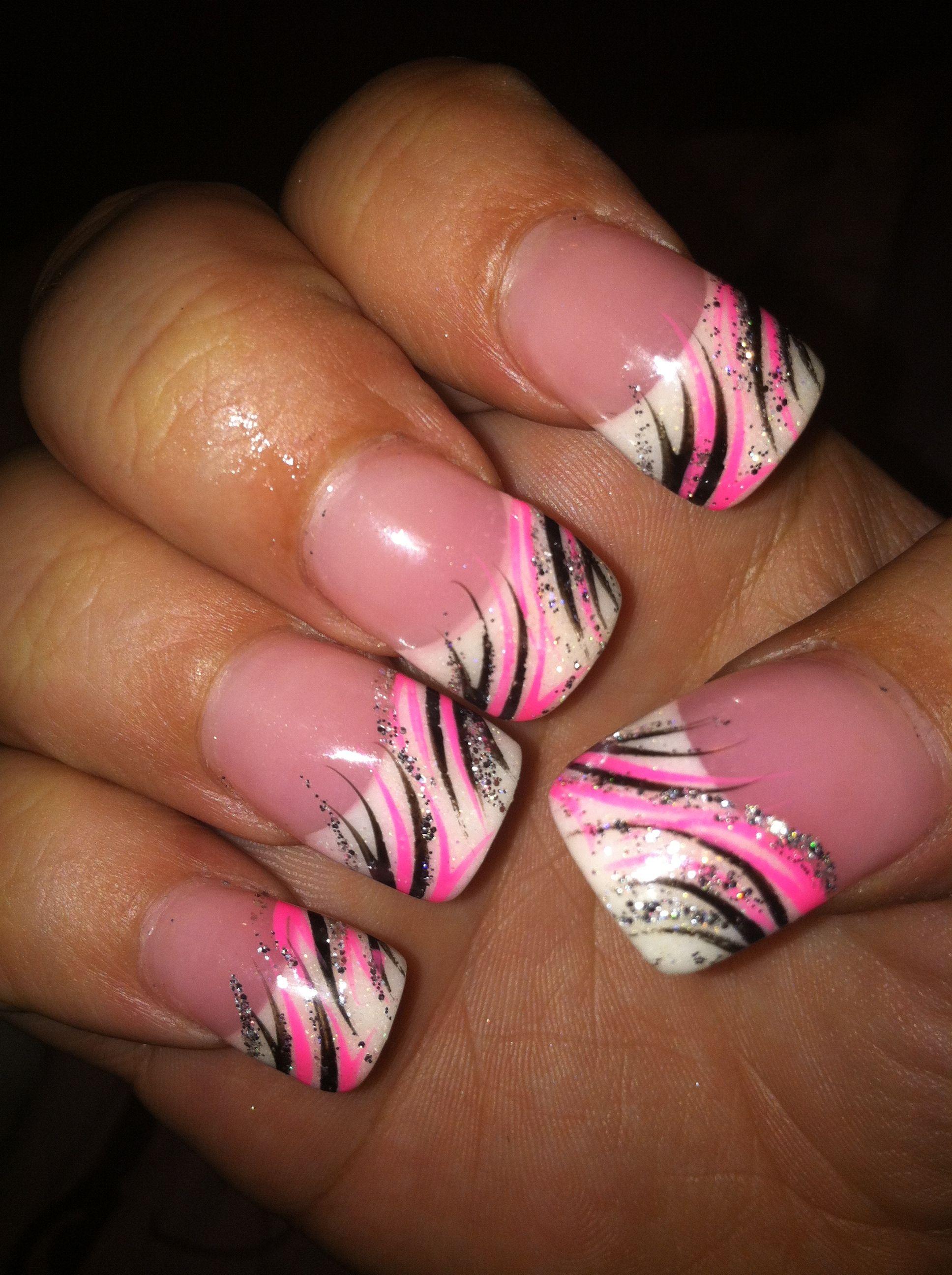 Pink Black Nail Design Pink Nail Designs Pink Nails Hot Pink