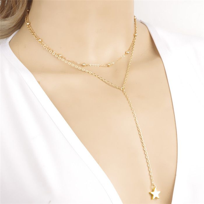 New fashion long tassel star pendant simple gold necklace beads new fashion long tassel star pendant simple gold necklace beads aliexpress aloadofball Image collections
