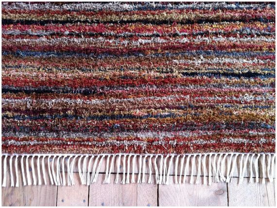 Sale Handmade Rag Rug Rusty Red With Black Accents Etsy Rag Rug Handmade Rag Rug Rugs Handmade rag rugs for sale