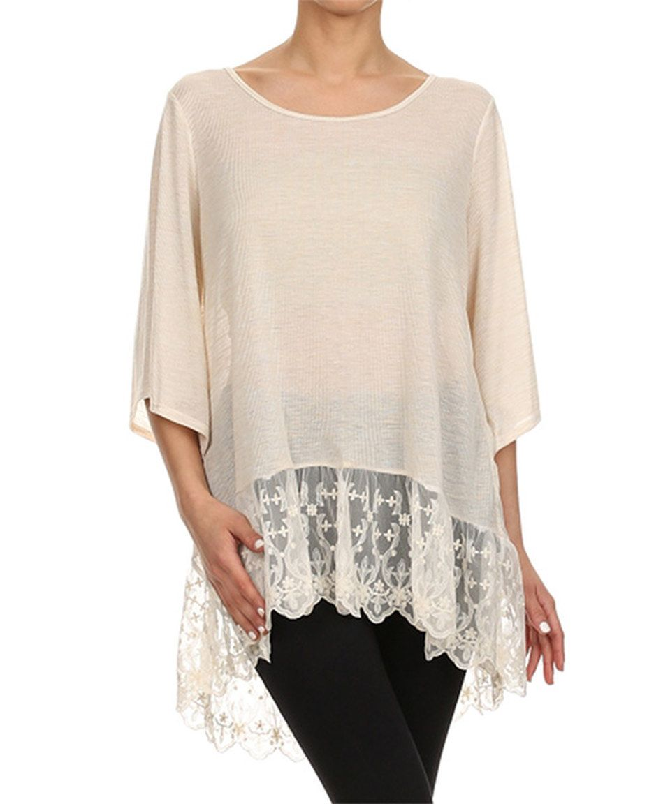 Another great find on #zulily! Vision Khaki Lace-Trim Scoop Neck Top by Vision #zulilyfinds