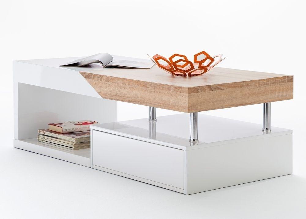 Couchtisch mit Schublade Hope Wohnzimmertisch Weiß Hochglanz 8813 - wohnzimmertisch hochglanz weiß
