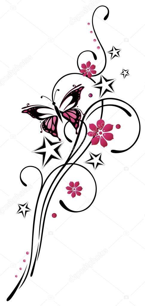 tribal mit sternen und schmetterling rosa und schwarz