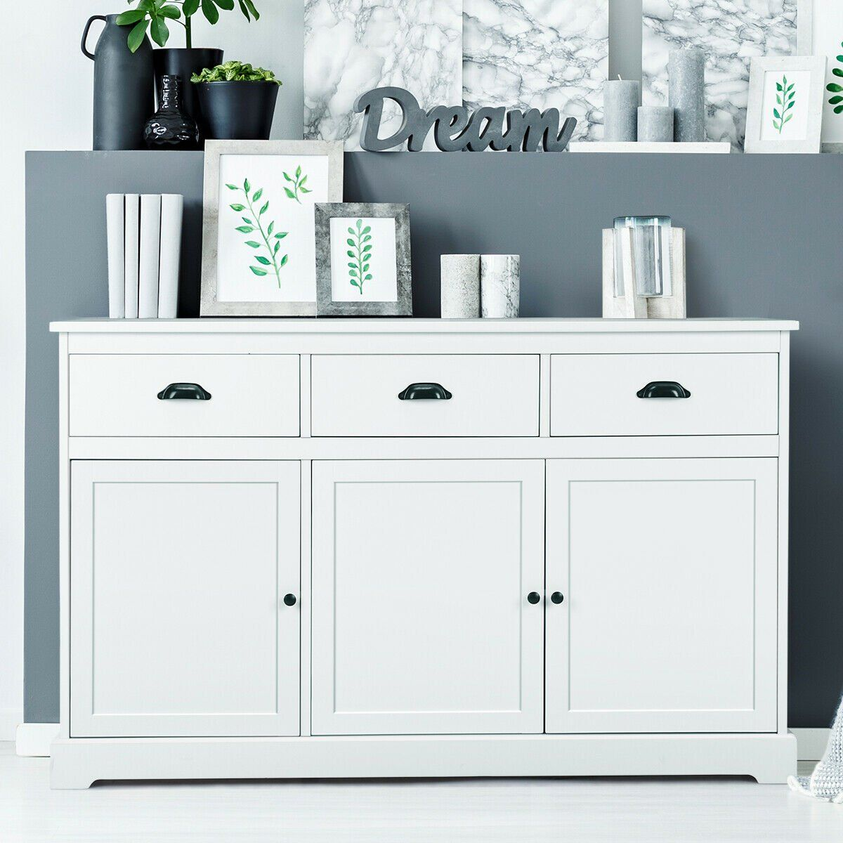 Gymax 3 Drawers Sideboard Buffet Cabinet Console Table Kitchen Storage Cupboard White Walmart Com In 2021 Sideboard Console Table Buffet Cabinet White Wood Kitchens