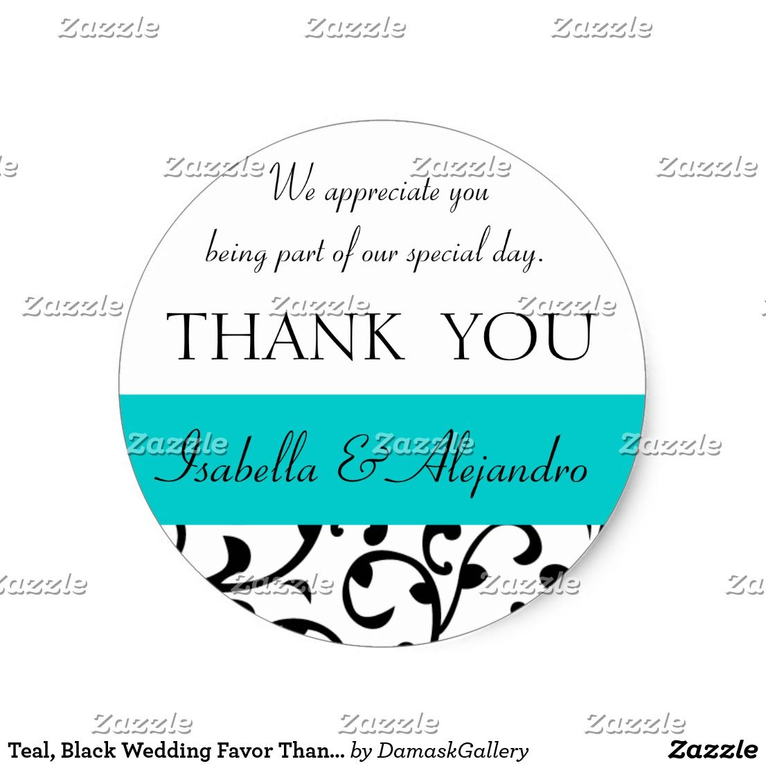 Teal, Black Wedding Favor Thank You Message Classic Round Sticker ...