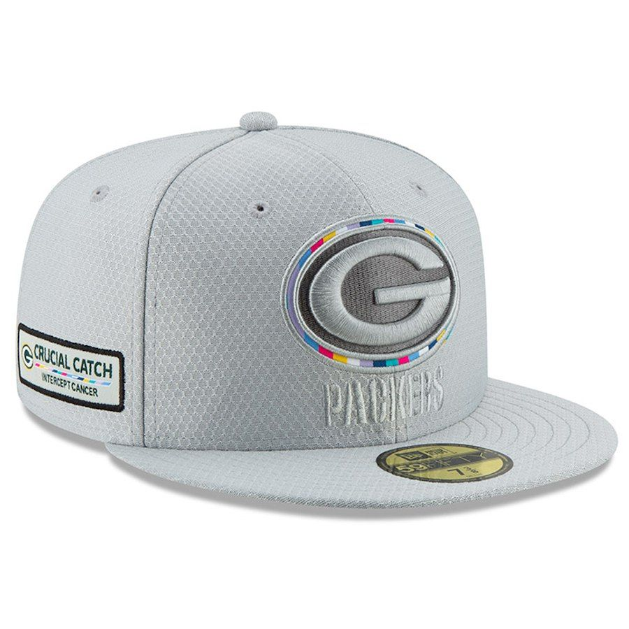 Green Bay Packers New Era Crucial Catch 59fifty Fitted Hat Gray Green Bay Packers Fitted Hats Hats