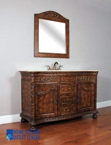 54 Antique Bathroom Vanity Cabinet Single Sink Tradtional Bath