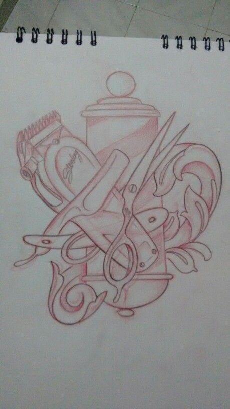 Elementos De Barberia Tatuaje De Peluquero Foto En Dibujo Carteles De Peluqueria