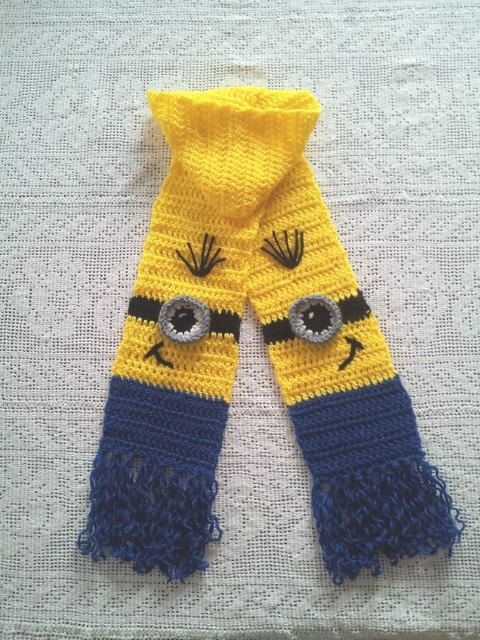 Minion Crochet Yellow and Blue Long Kids Scarf for Kids | Bufanda ...