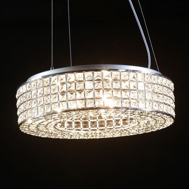 A circular crystal chandelier pendant light with chrome detail a circular crystal chandelier pendant light with chrome detail stunning circular crystal and chrome pendant chandelier aloadofball Image collections