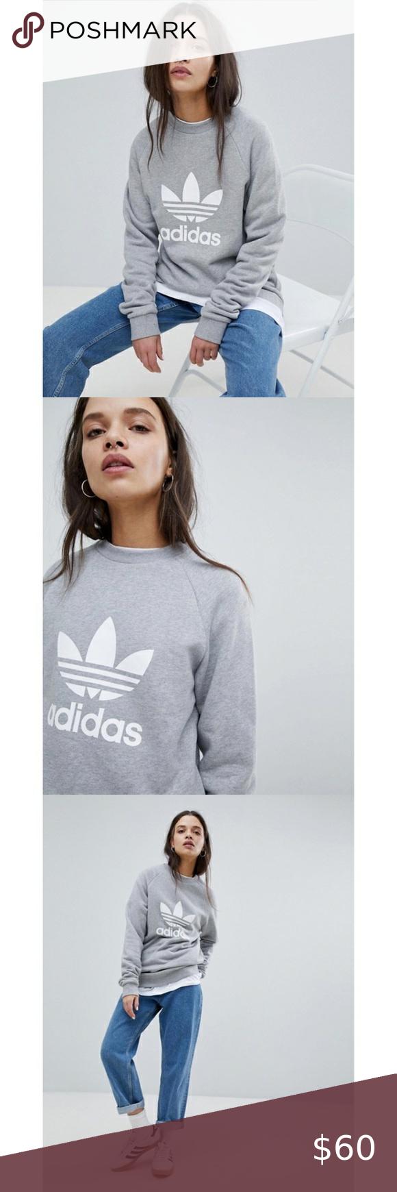 New Adidas Originals Gray Oversized Sweatshirt Grey Adidas Hoodie Adidas Cropped Hoodie Track Pants Women [ 1740 x 580 Pixel ]