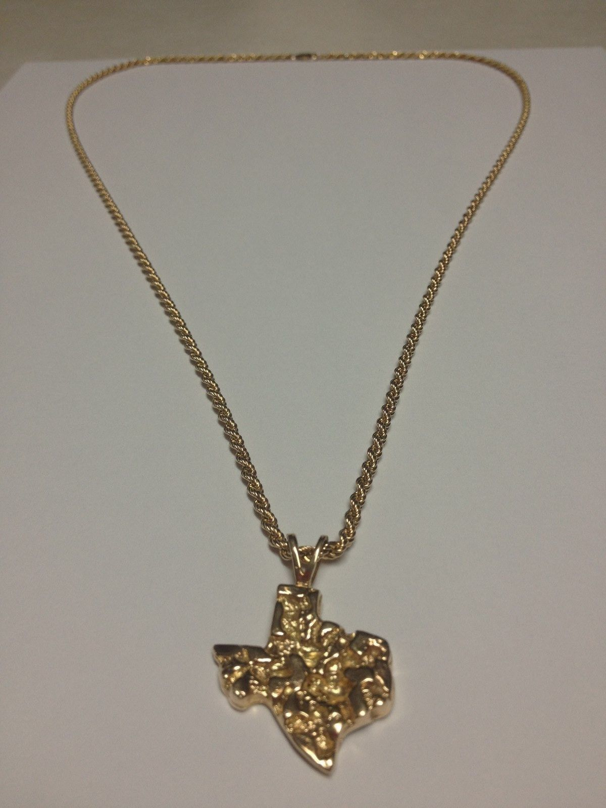 218c924377738 MEN'S TEXAS STATE 10K GOLD NUGGET PENDANT, 14K GOLD ROPE CHAIN 24.5 ...