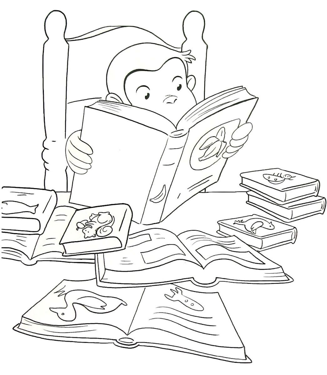 Curious George reading printable coloring book page for kids ...