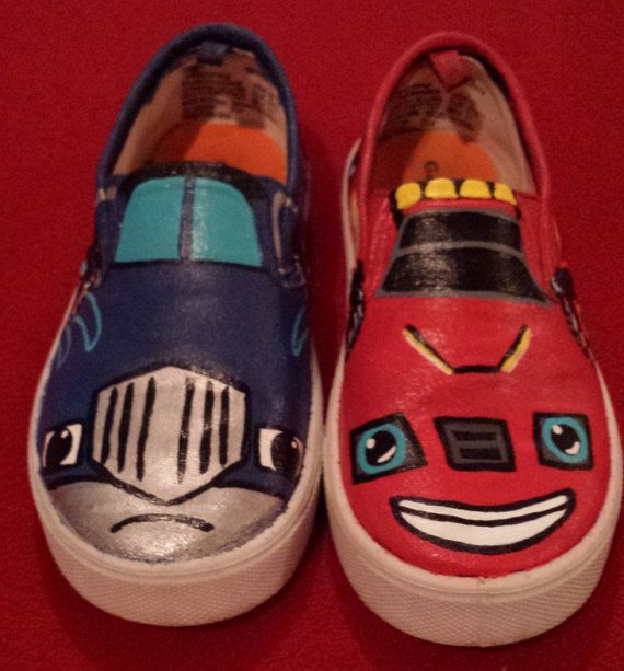 monster machines hand painted shoes