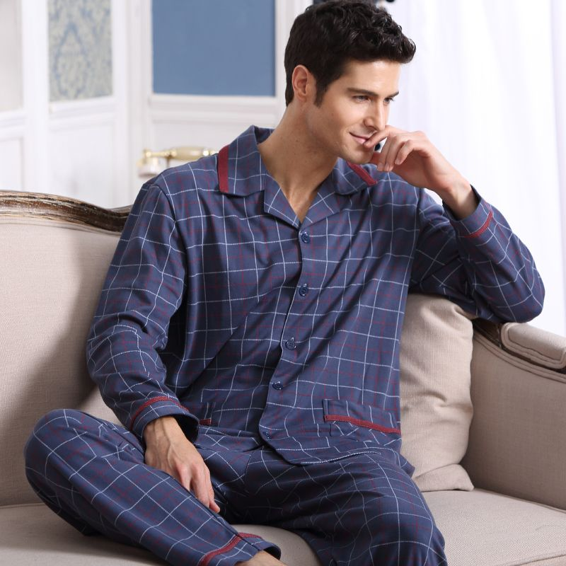 19327556ec Spring Autumn Men s Pajamas Long Sleeve Sleepwear Cotton Plaid Cardigan  Pyjamas Men Lounge Pajama Sets Plus size 4XL 5XL Sleep