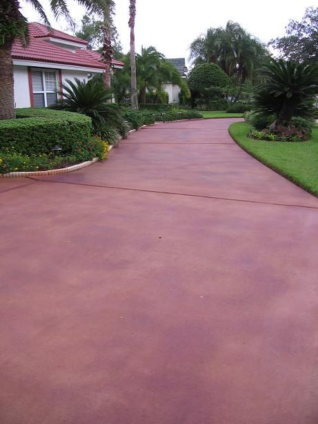 Painted Driveys Home Driveway Restoration Stained Broomed Concrete Tampa Palms