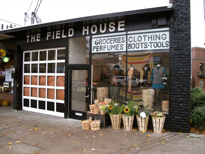 The Field House in Ballard Seattle  General Store in converted garage  Storefronts  Glass