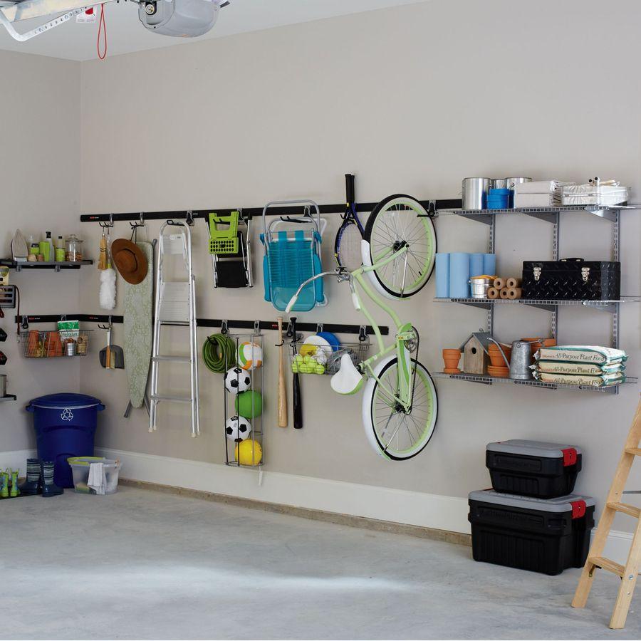 Rubbermaid Fasttrack Garage 7 5 In Satin Nickel Steel Bike Rack Lowes Com Garage Storage Remodel Bedroom Garage Organization
