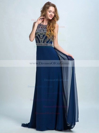 Champagne Scoop Neck Tulle Chiffon with Beading Floor-length Unique Prom Dress