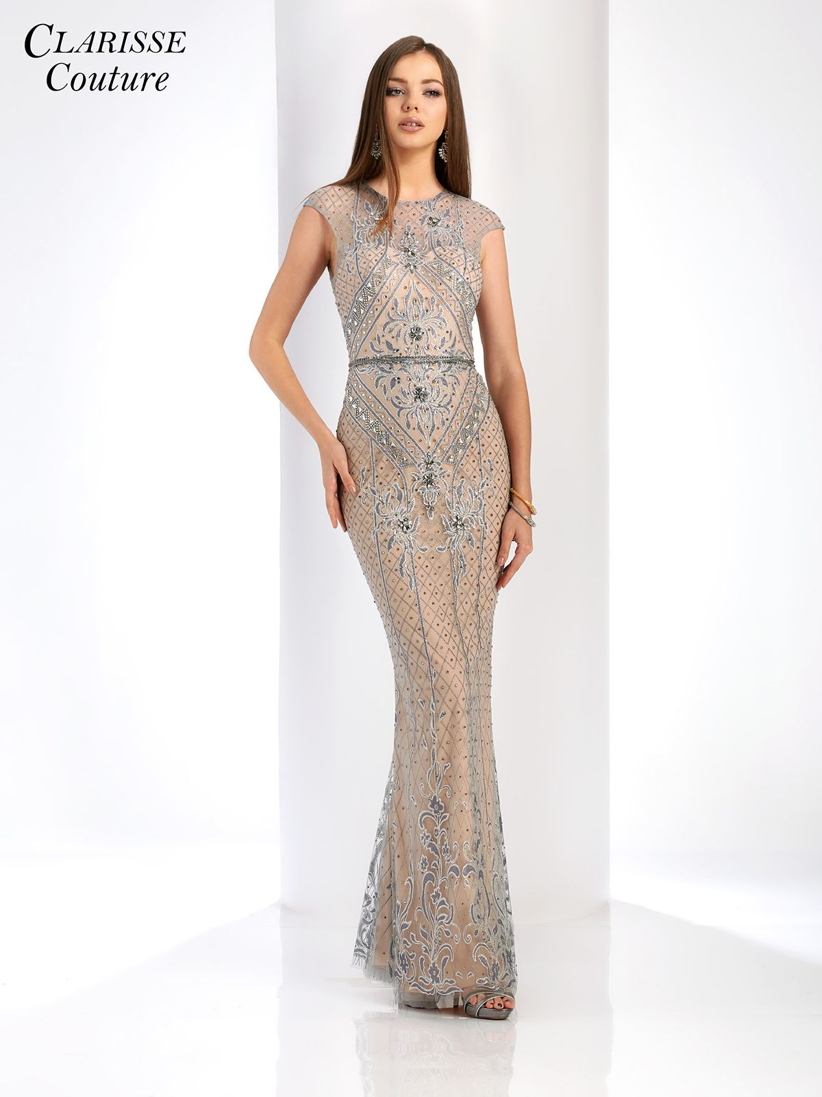 Gray and Nude Evening Gown 4916 | Black tie events, Gowns and Black tie