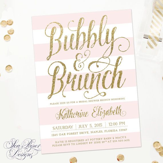 Champagne Mimosa Brunch Party Invite Ava Gold Glitter Brunch /& Bubbly Bridal Shower Invitation: Blush Pink Digital Or Printed