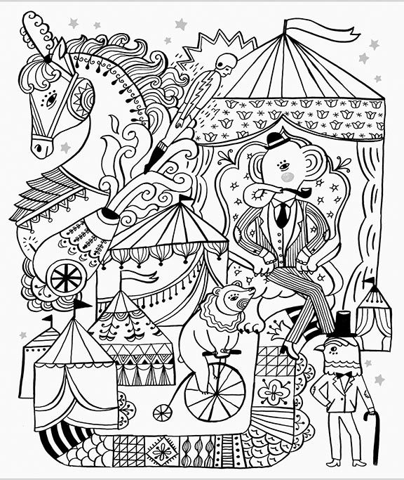 wonderful art by my fellow lilla rogers studio artist sarah walsh coloring book pagesprintable coloringcircus - Circus Coloring Pages