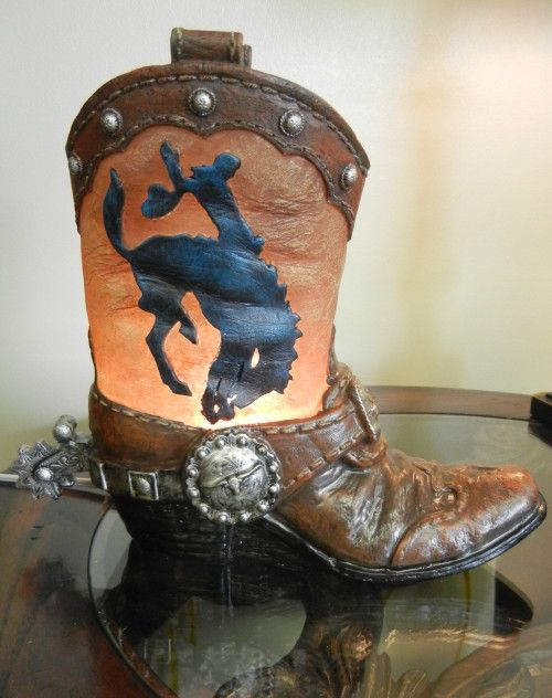 Cowboy Boot Table Night Lightcowboy Light Western Rhpinterest: Cowboy Boot Home Decor At Home Improvement Advice