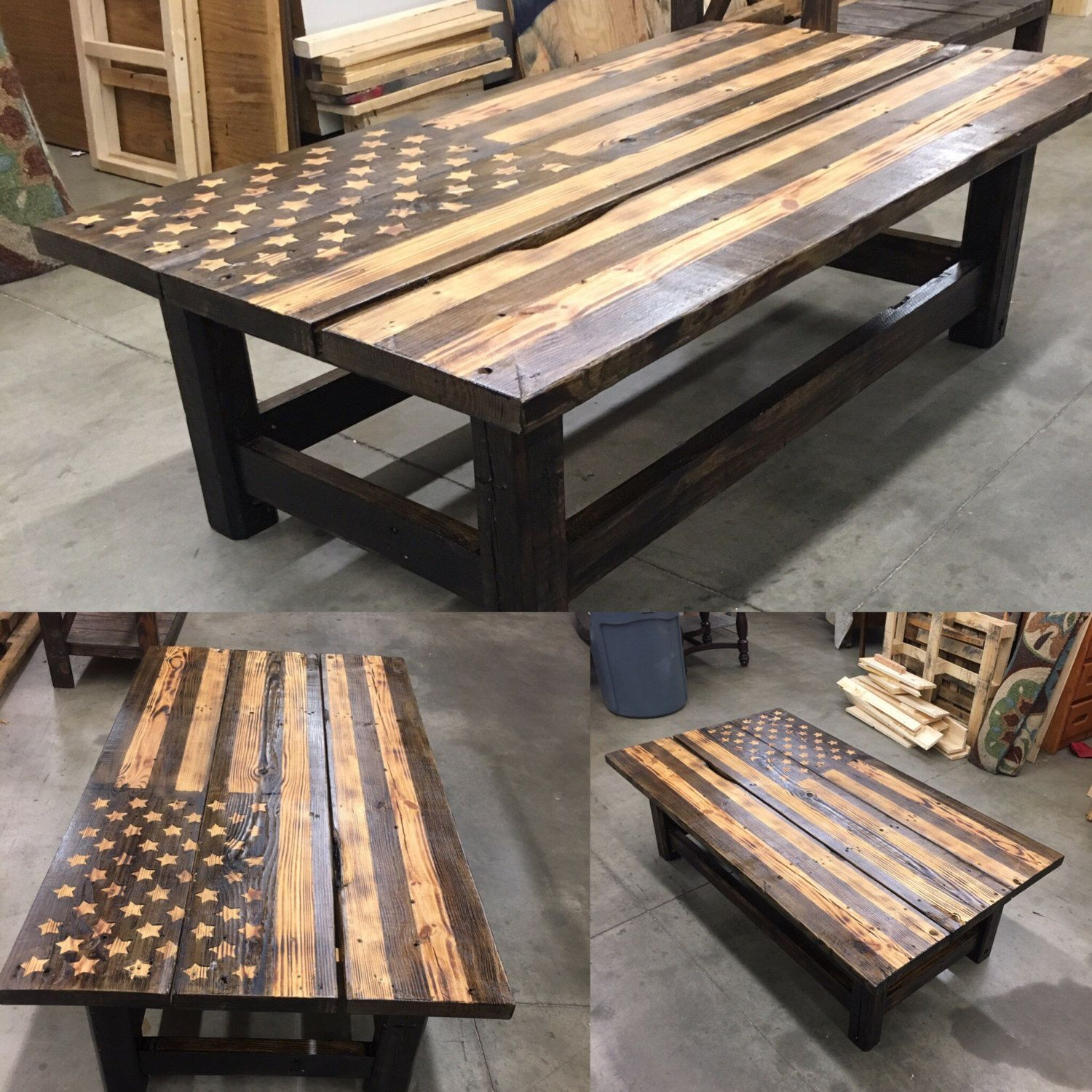 Distressed American Flag Coffee Table: Reclaimed Pallet Wood American Flag Coffee Table