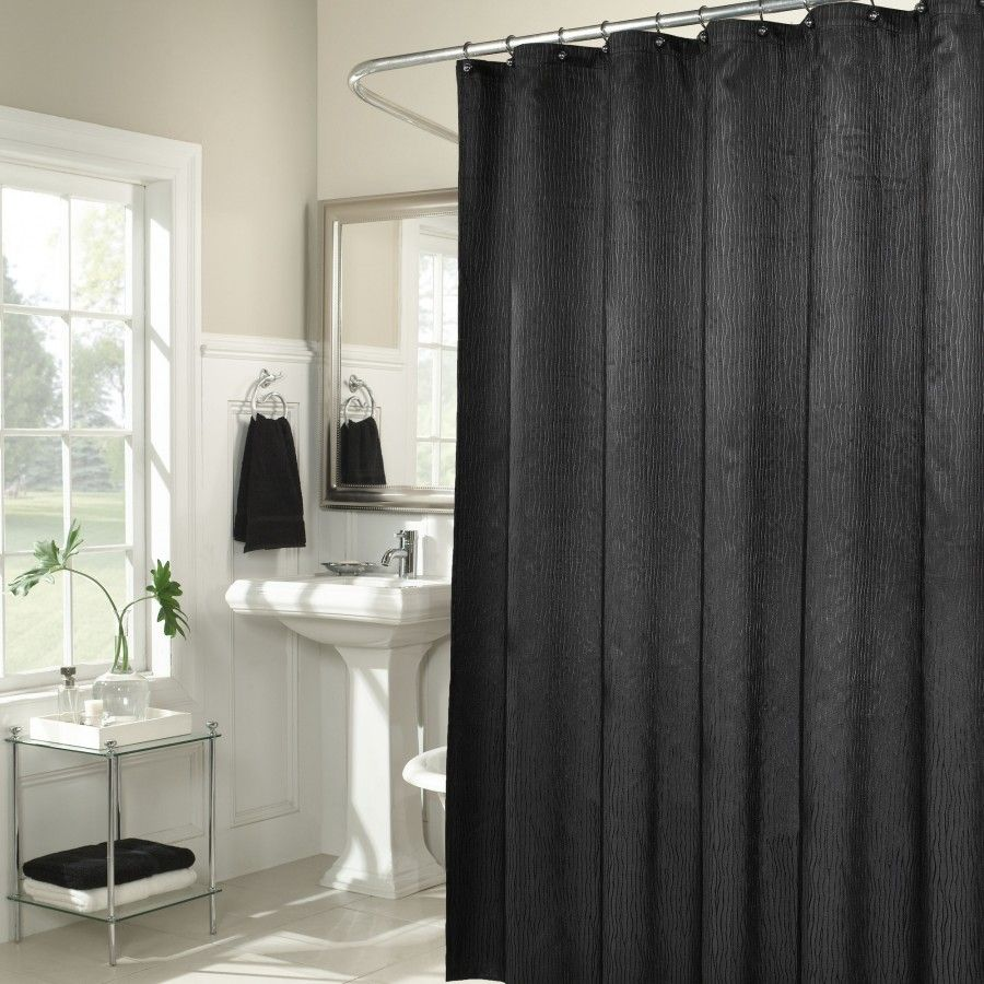 M Style Waves Shower Curtain In Black Ms7891 Blk Fabric