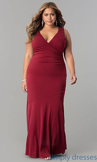9172bb27278d5 Shop plus-size long formal evening dresses at Simply Dresses. Long-sleeved  cold-shoulder floor-length gowns under  100 with scoop necklines.