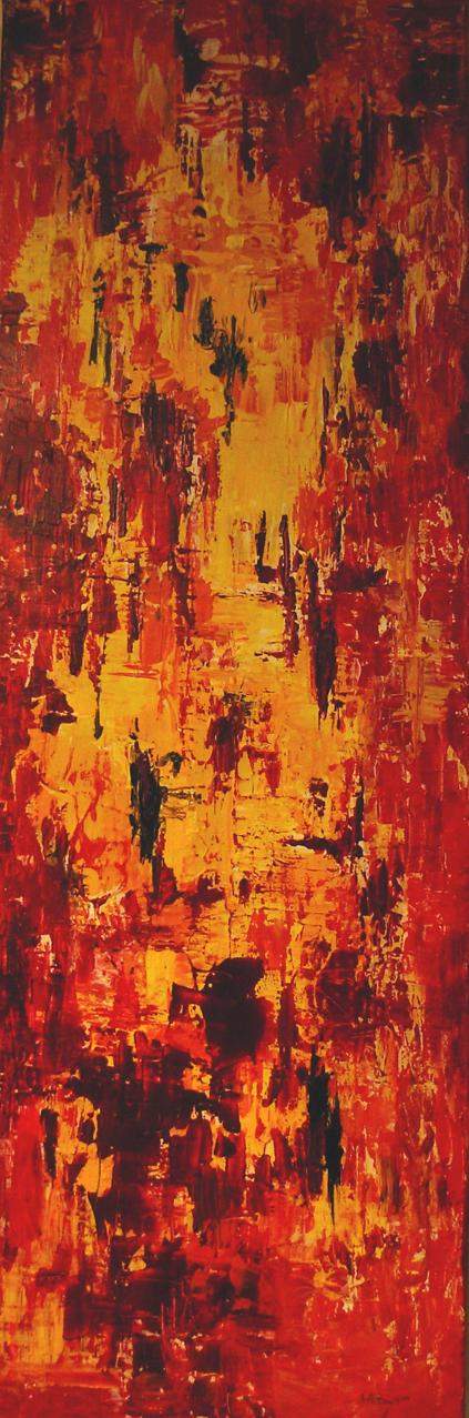 Titre de l'œuvre : no.2007-013  Année de réalisation : 2007  Médium : Acrylique sur toile  Grandeur : 12  x 36 pouces  L'œuvre n'est pas encadrée   Prix de départ: 300$