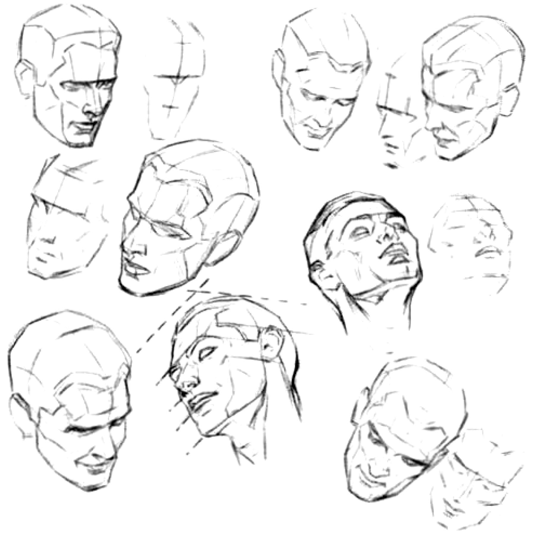 Scribble Drawing Face : How to draw the face and head in perspective keep