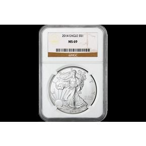 Shop 2014 $1 American Silver Eagle Brown Label MS69/NGC and other jewelry, art, coins, rugs and real estate at www.aantv.com