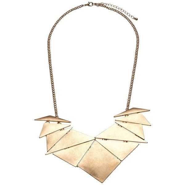 John Lewis Abstract Fan Necklace, Gold ($32) ❤ liked on Polyvore featuring jewelry, necklaces, john lewis, triangle jewelry, gold triangle necklace, flat necklace and gold jewelry