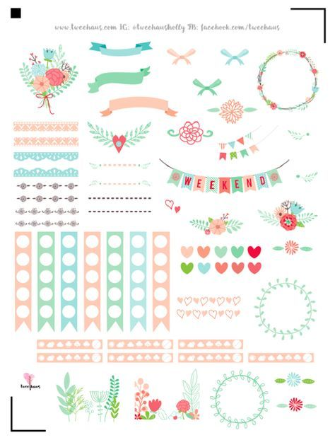 FREE printable floral planner stickers pastel love Daily Planner