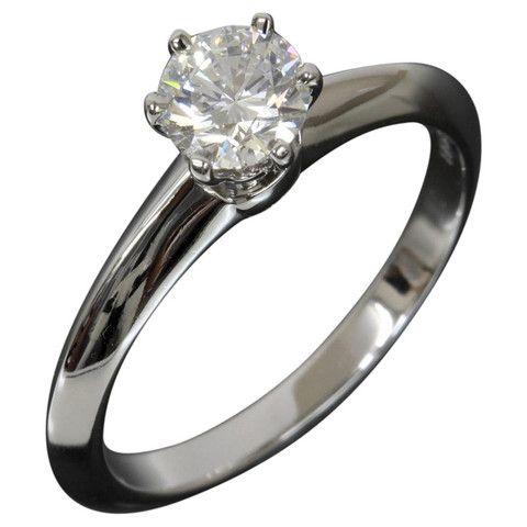 422d8b6a91ef4 TIFFANY & CO.0.51ct Diamond Solitaire Ring PT950 US5.75 EU51 W/Box ...