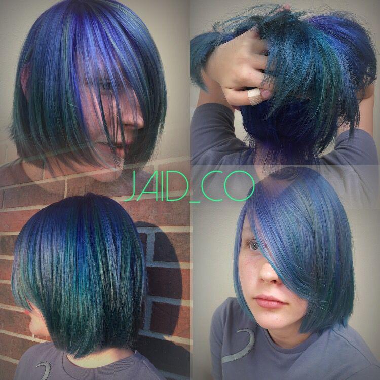 Pravana vivids, mermaid hair, color slick blue, purple, green hair, fashion hair color 2016 IG: jaid_Co