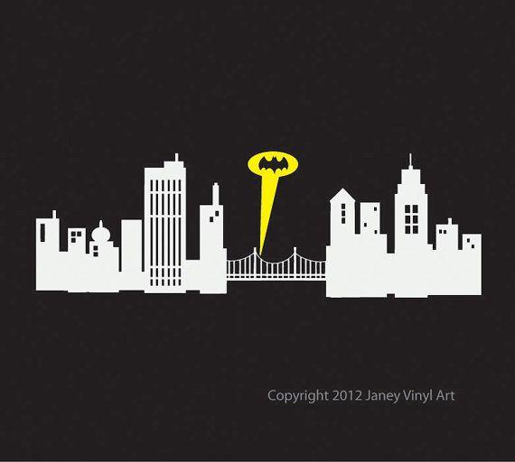 batman gotham city skyline cityscape silhouette want