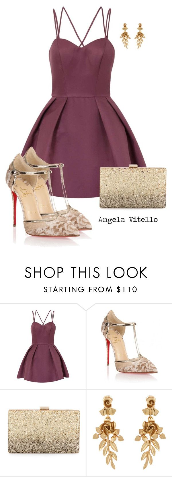 """Untitled #903"" by angela-vitello on Polyvore featuring Chi Chi, Christian Louboutin, Neiman Marcus and Oscar de la Renta"