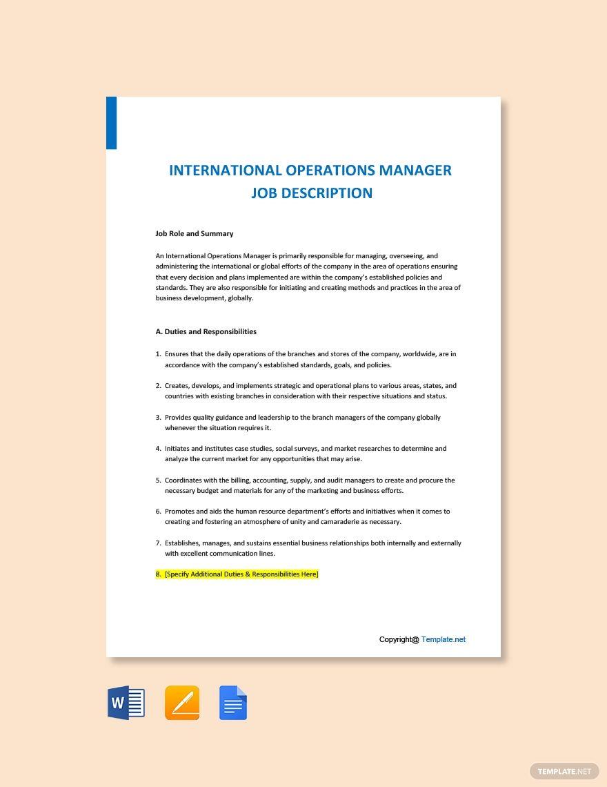 Free International Operations Manager Job Description