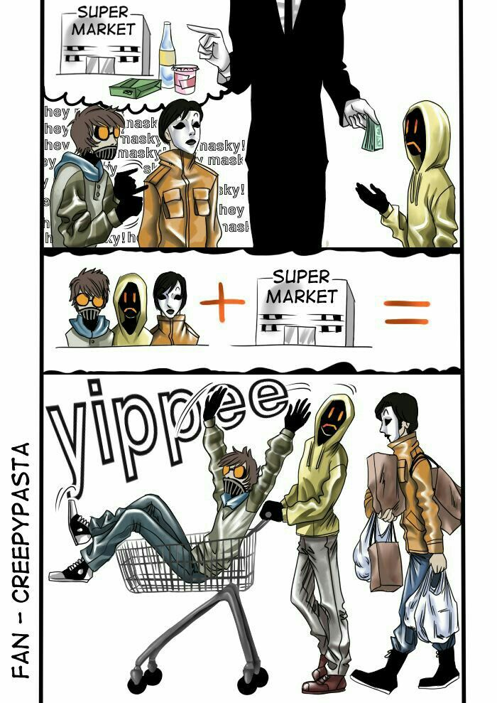 Slenderman, Ticci Toby, Masky, Hoodie, Proxy, text, comic