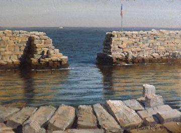 Plein Air Study of Granite Seawalls by joseph mcgurl Oil ~ 9 x 12
