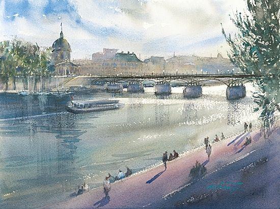 La Seine Paris France I By Keiko Tanabe Watercolor 11 1 2 X 15