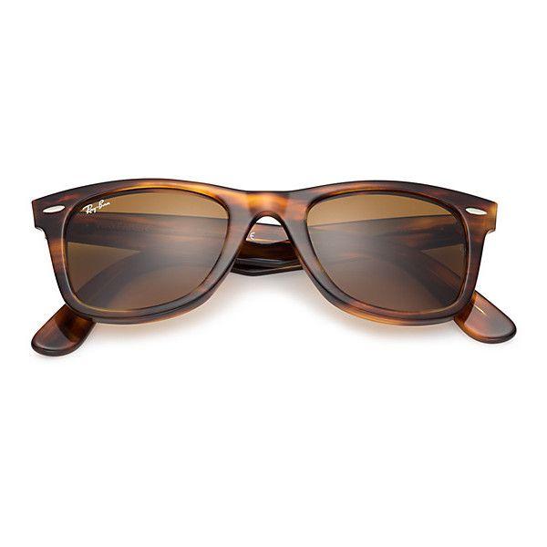 Ray Ban Mens Original Wayfarer Blue Sunglasses Brown Lenses Rb2140 150 Liked On Polyvore F Blue Aviator Sunglasses Wayfarer Sunglasses Mens Ray Ban Men