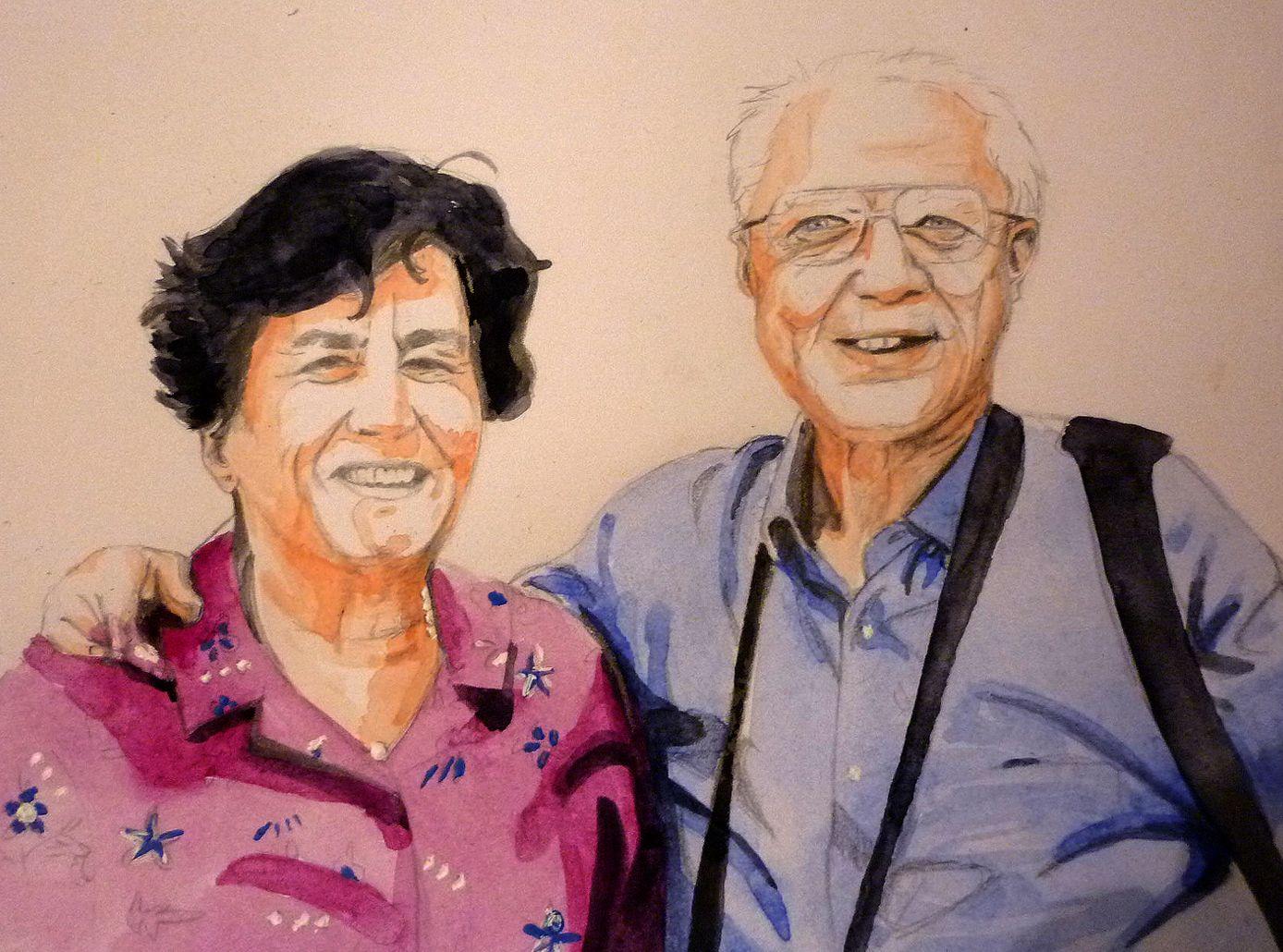 Portrait aquarelle de monsieur et madame